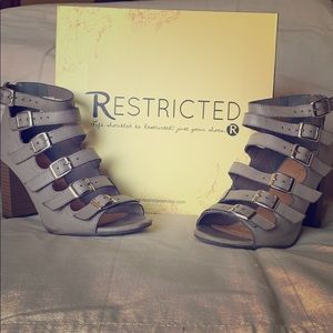 Restricted Taupe 8.5 Buckle & Strap Ankle Boot
